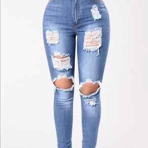 Say yes to distressed  fashion nova jeans